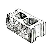 Бетонный колотый 2-сторонний пустотелый блок