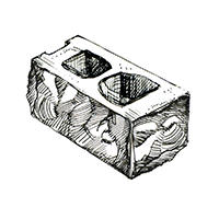 Бетонный угловой колотый пустотелый блок