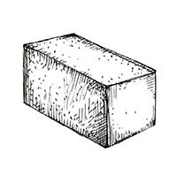 Бетонный полнотелый блок 390х190х190