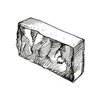 Бетонный колотый полнотелый блок